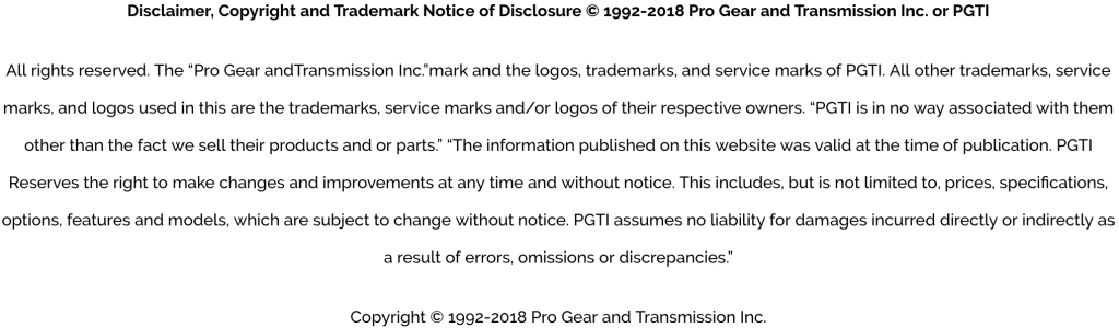 ProGear and Transmission disclaimer